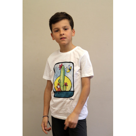 T-Shirt bambino Serie Cactus Celeste